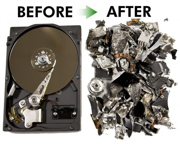 Data destruction and metals recovery